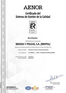 Certificado AENOR Bripol SA